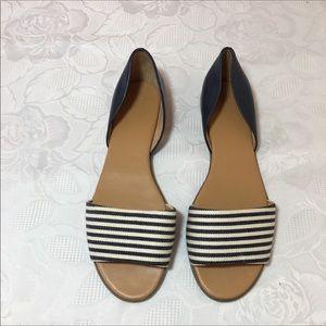 J.Crew blue & white open toe sandals